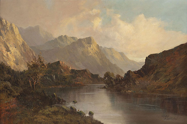 Frank E. Jamieson (1834-1899): Scottish lake landscape in front of mountains